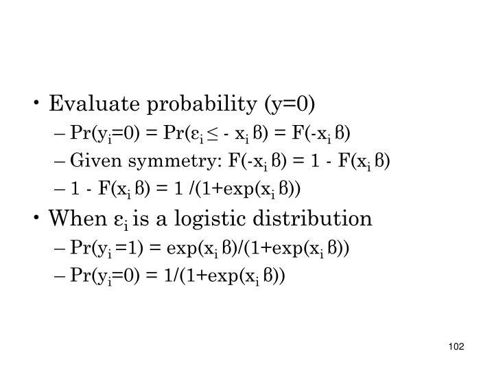 Evaluate probability (y=0)