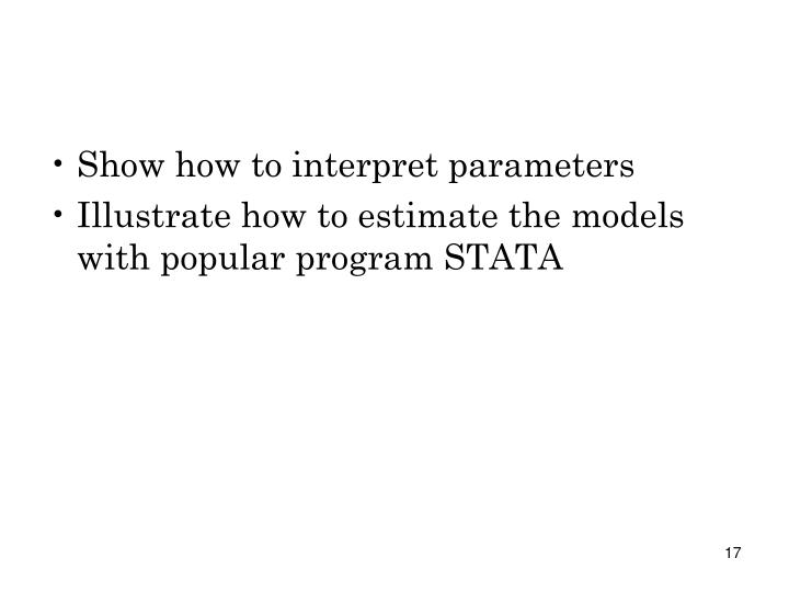 Show how to interpret parameters