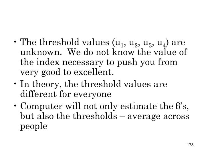 The threshold values (u