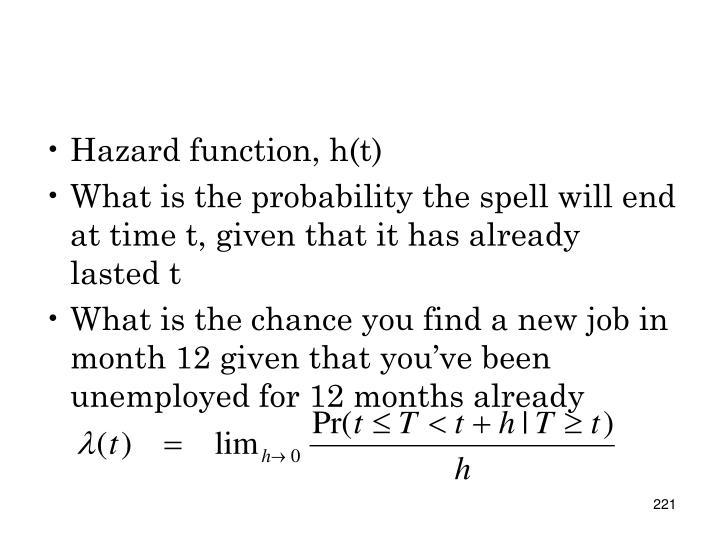 Hazard function, h(t)