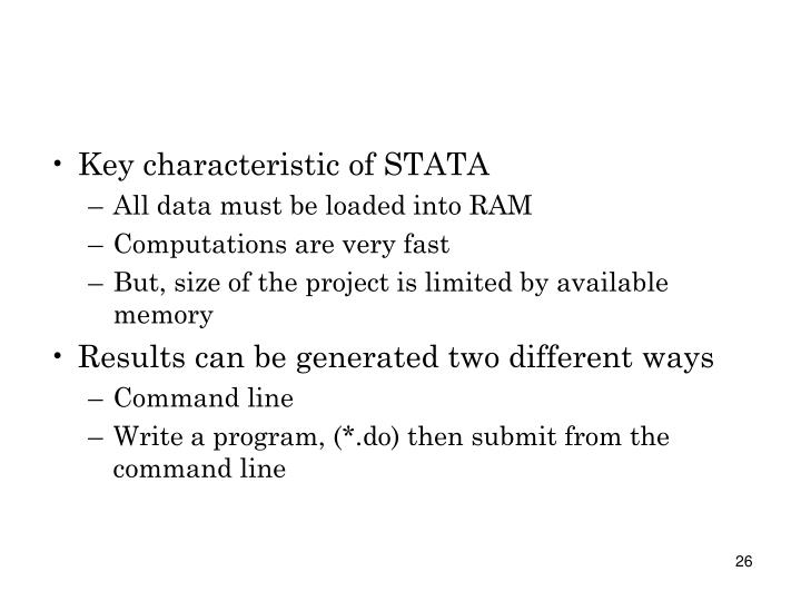 Key characteristic of STATA