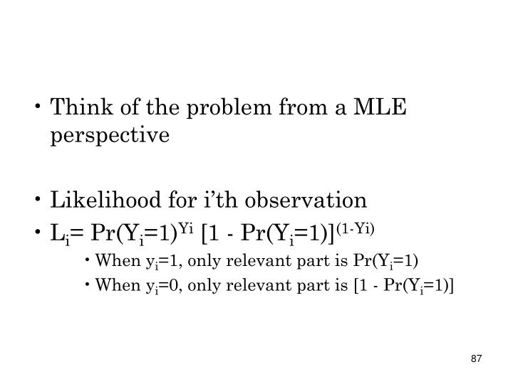Think of the problem from a MLE perspective