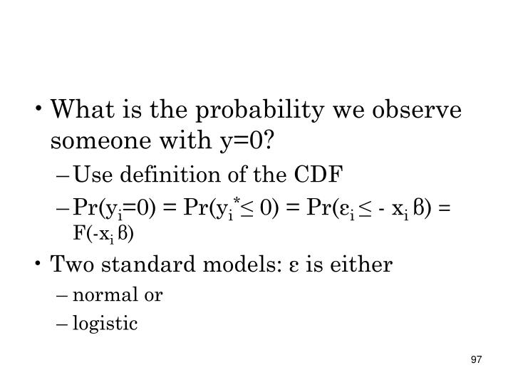 What is the probability we observe someone with y=0?