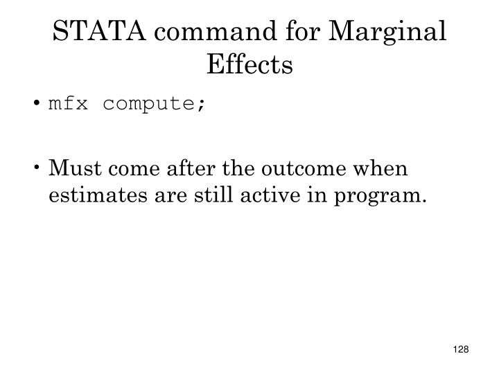 STATA command for Marginal Effects