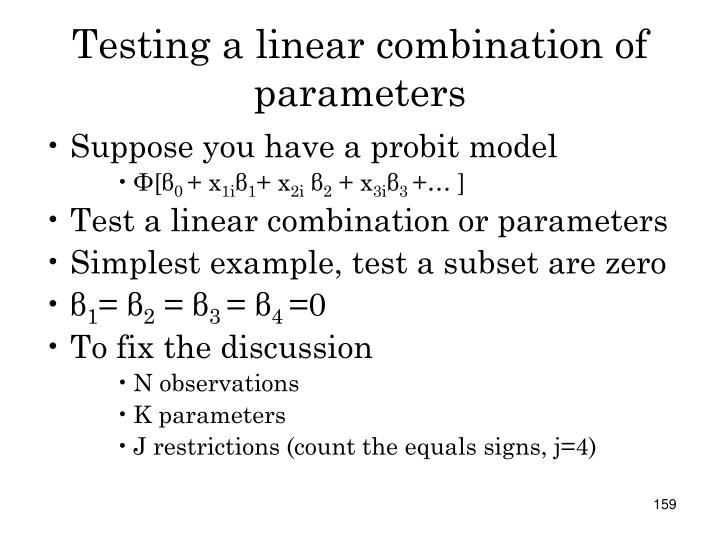 Testing a linear combination of parameters