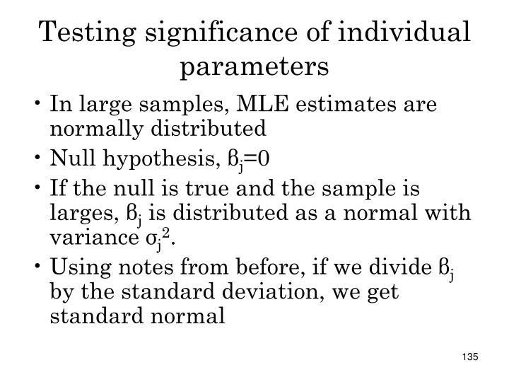 Testing significance of individual parameters