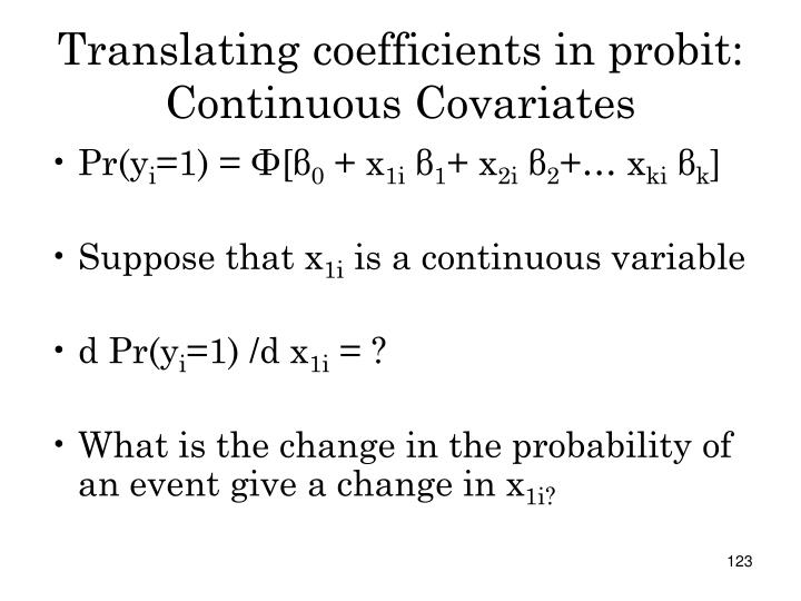Translating coefficients in probit: