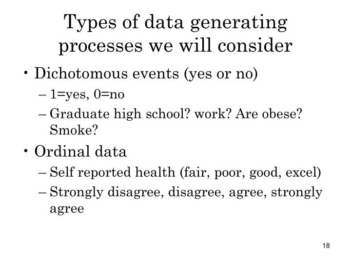 Types of data generating processes we will consider