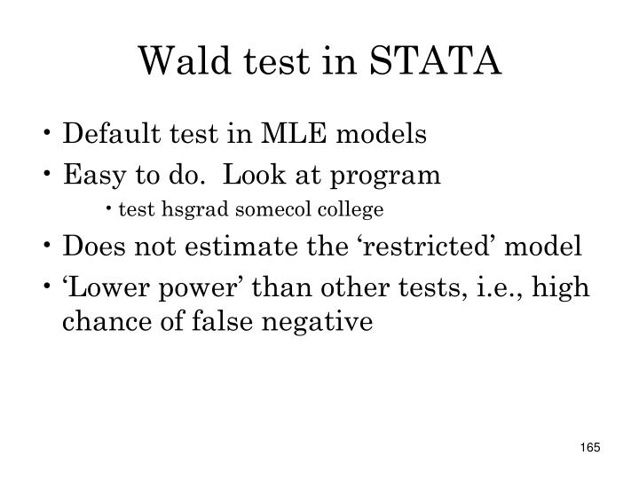 Wald test in STATA