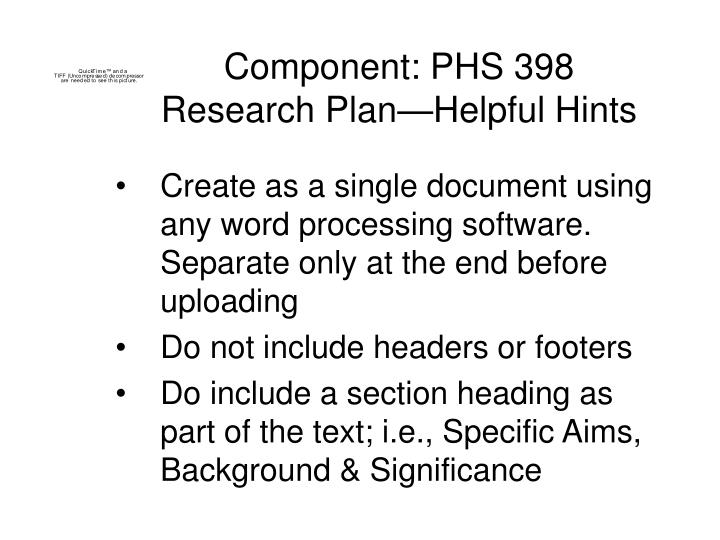 Component: PHS 398 Research Plan—Helpful Hints