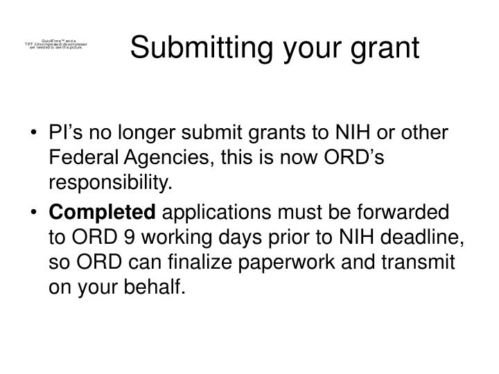 Submitting your grant