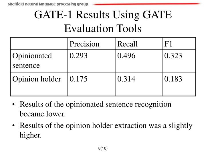 GATE-1 Results Using GATE Evaluation Tools