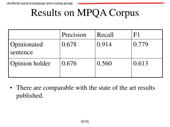 Results on MPQA Corpus