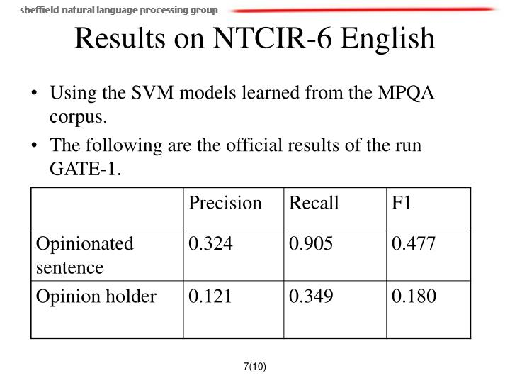 Results on NTCIR-6 English