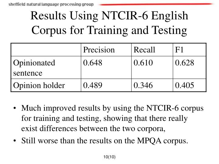 Results Using NTCIR-6 English Corpus for Training and Testing