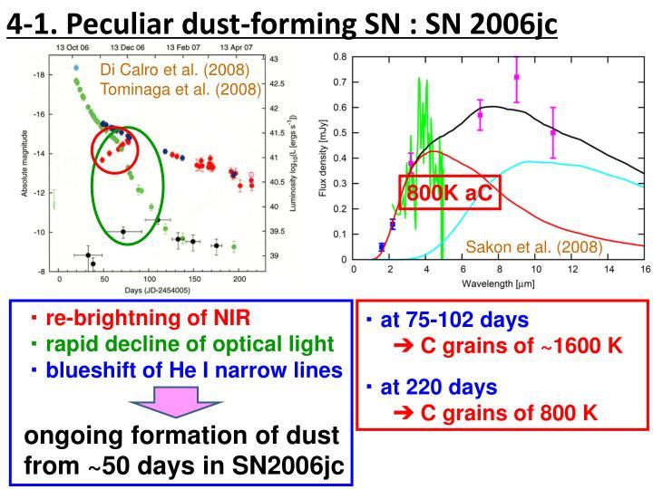 4-1. Peculiar dust-forming SN : SN 2006jc