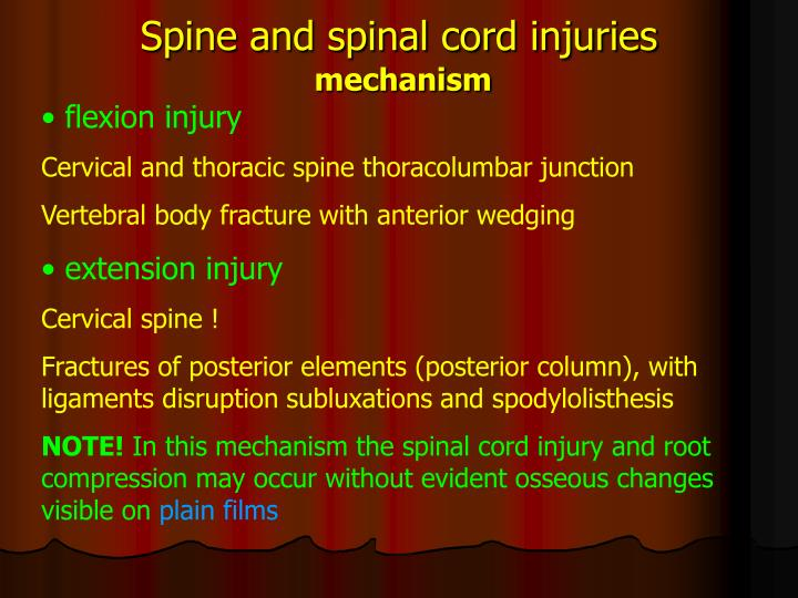 Spine and spinal cord injuries