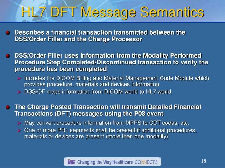 HL7 DFT Message Semantics