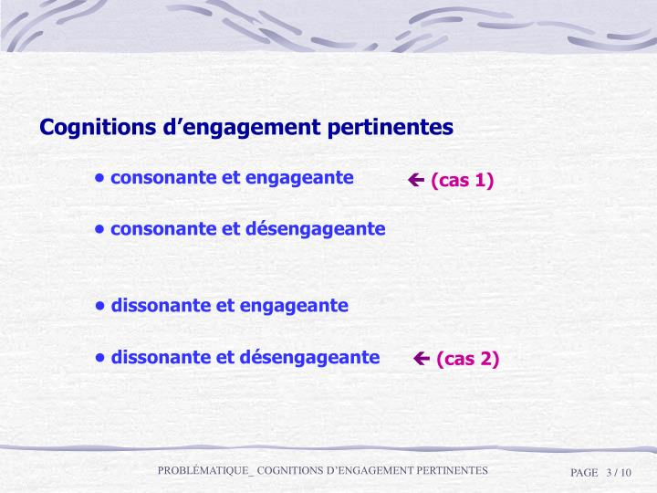 Cognitions d'engagement pertinentes