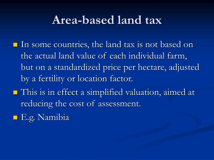 Area-based land tax