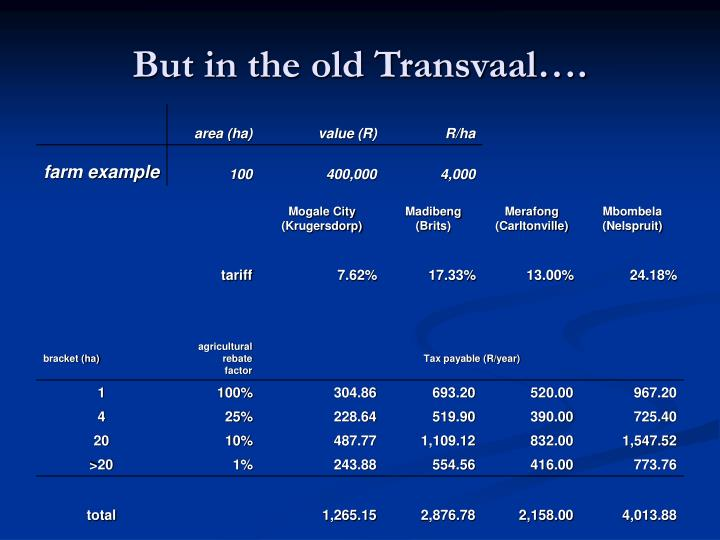 But in the old Transvaal….