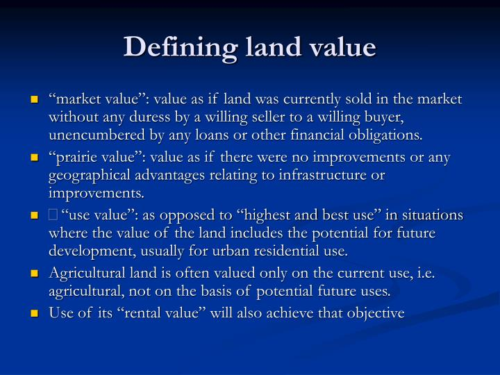 Defining land value