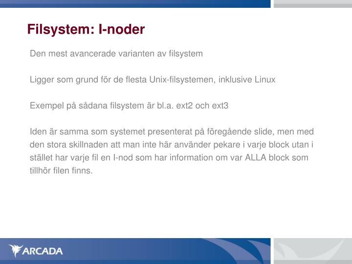 Filsystem: I-noder
