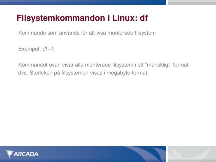 Filsystemkommandon i Linux: df