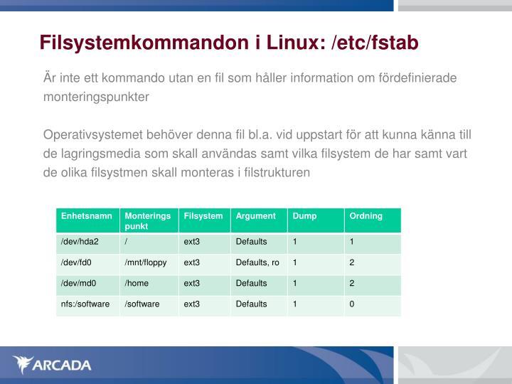 Filsystemkommandon i Linux: /etc/fstab