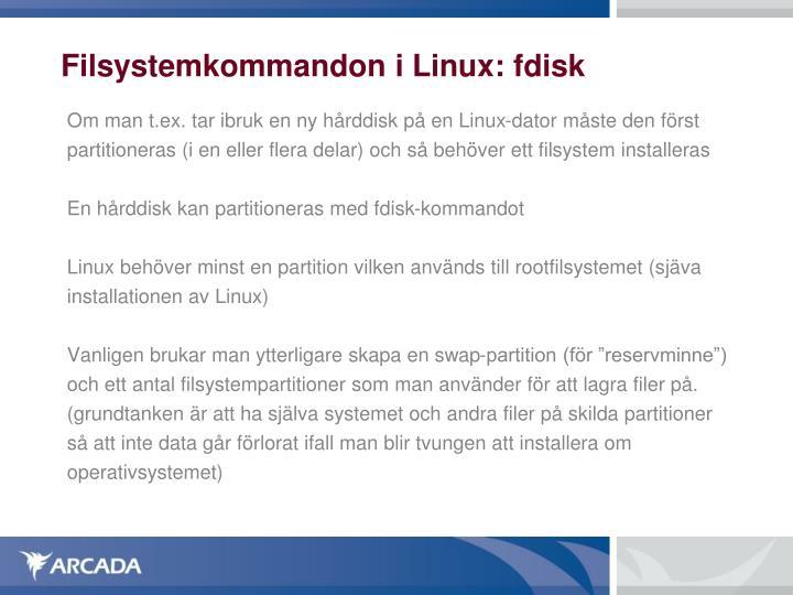 Filsystemkommandon i Linux: fdisk