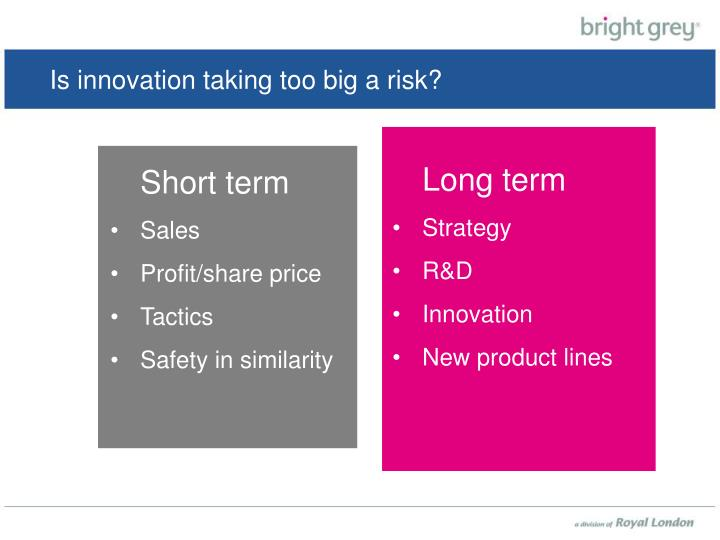 Is innovation taking too big a risk?