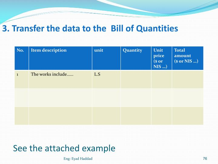 3. Transfer the data to the  Bill of Quantities