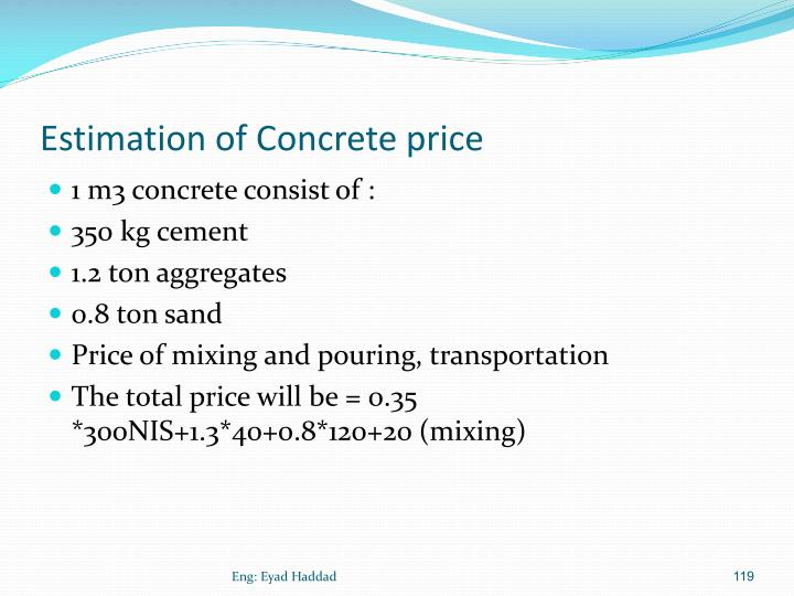 Estimation of Concrete price