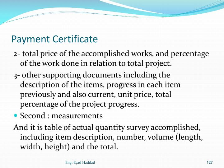 Payment Certificate