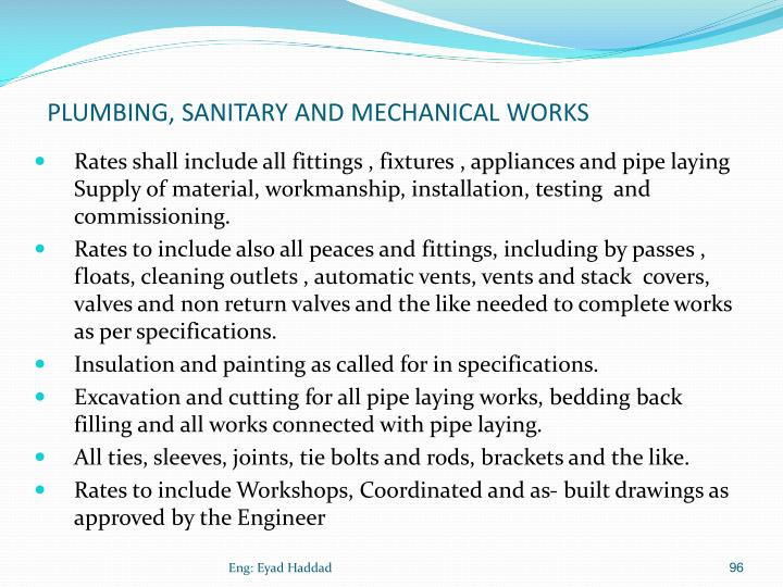 PLUMBING, SANITARY AND MECHANICAL WORKS