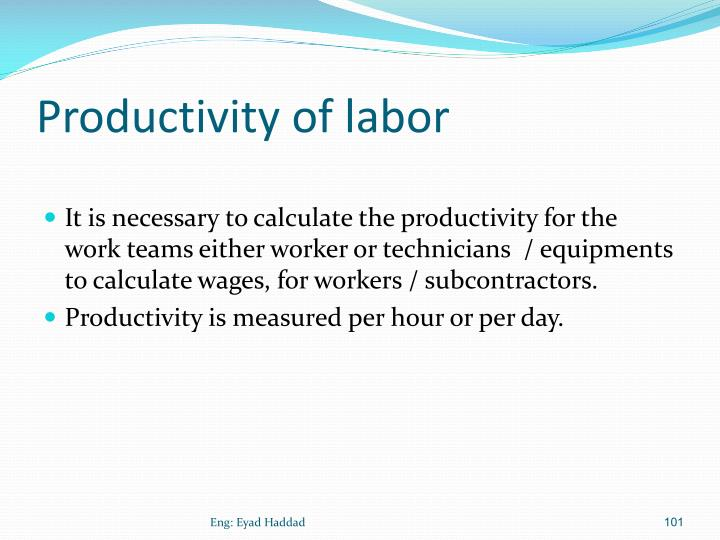 Productivity of labor