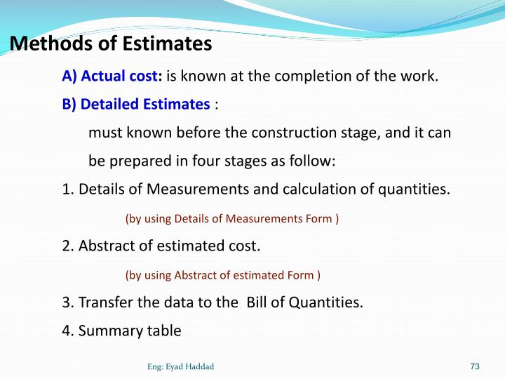 Methods of Estimates