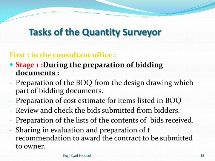 Tasks of the Quantity Surveyor