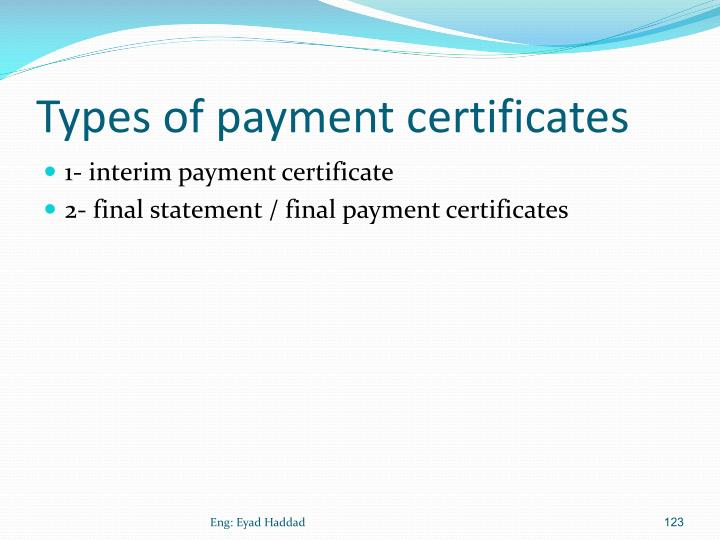 Types of payment certificates