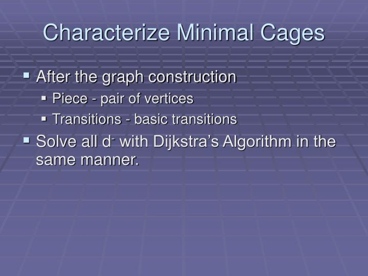 Characterize Minimal Cages