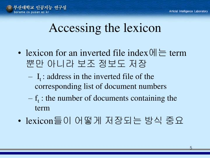 Accessing the lexicon