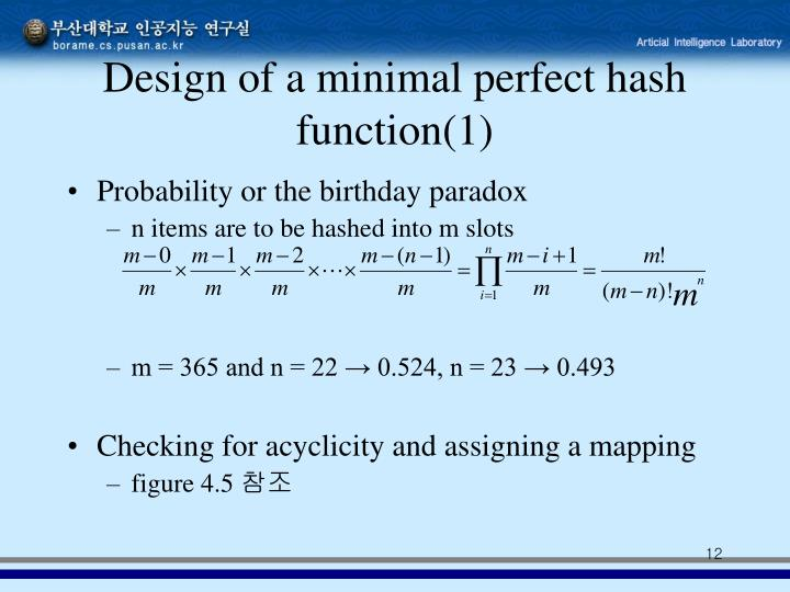 Design of a minimal perfect hash function(1)
