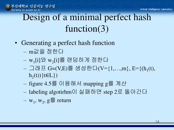 Design of a minimal perfect hash function(3)