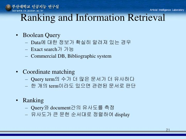Ranking and Information Retrieval