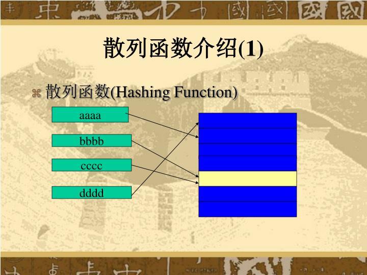 散列函数介绍(1)