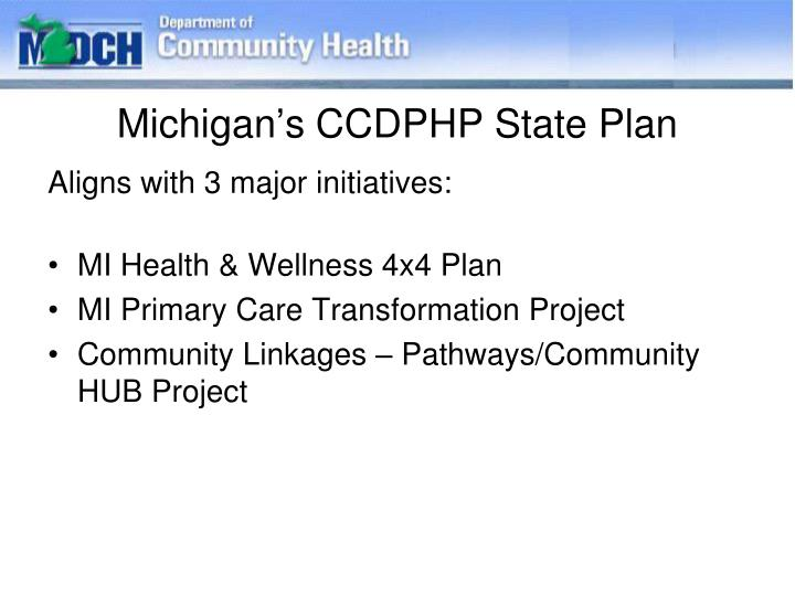 Michigan's CCDPHP State Plan