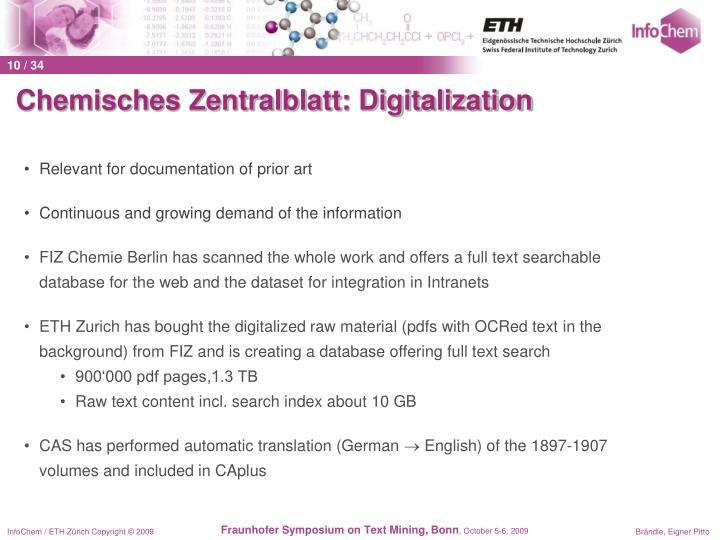 Chemisches Zentralblatt: Digitalization