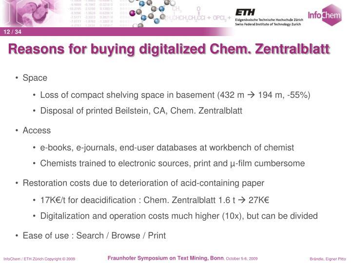 Reasons for buying digitalized Chem. Zentralblatt