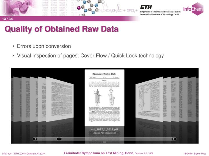 Quality of Obtained Raw Data