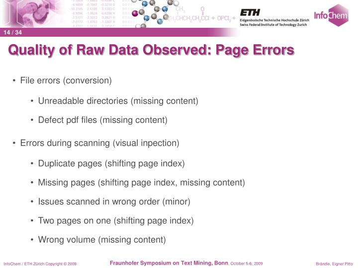 Quality of Raw Data Observed: Page Errors